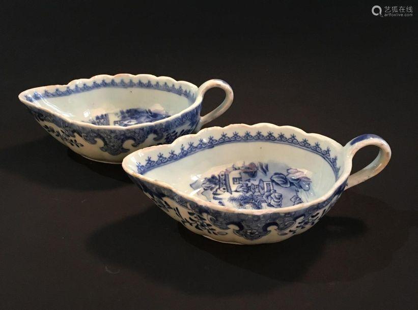 Paire de saucières en porcelaine bleu blanc Chine,...;