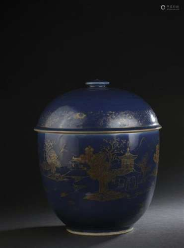 Grand pot couvert en porcelaine bleu poudré et déc...;