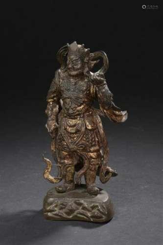 Statuette de guerrier en bronze laqué Chine, dynas...;
