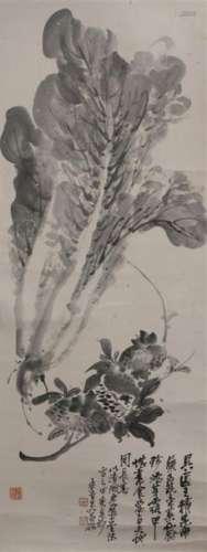 Peinture en rouleau à l'encre Chine À décor de cho...;