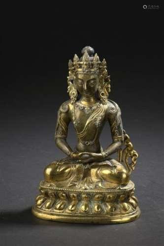 Statuette d'Amitayus en bronze doré Chine, XVIIIe ...;