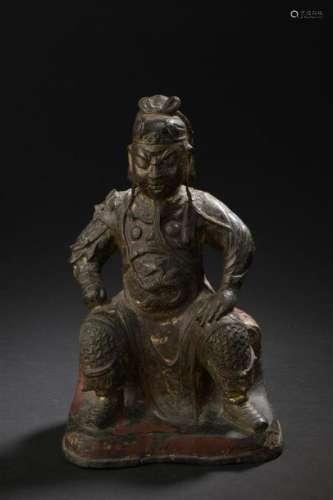 Statuette de Guandi assis en bronze laqué rouge et...;
