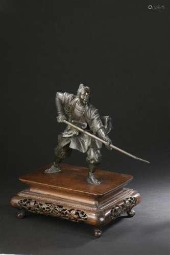 Statuette de samouraï en bronze Japon, fin de l'ép...;