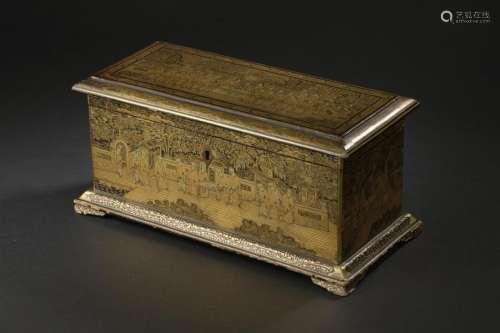 Coffret en bois laqué noir et or Chine, Canton, dé...;
