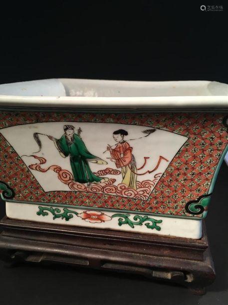 Grande coupe carrée en porcelaine famille verte Ch...;