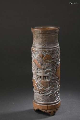 Grand pot à pinceaux en bambou Chine, XXe siècle C...;