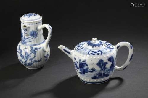 Pot à lait couvert et théière couverte en porcelai...;