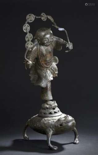 Brûle parfum en bronze Chine, XVIIe siècle Représe...;