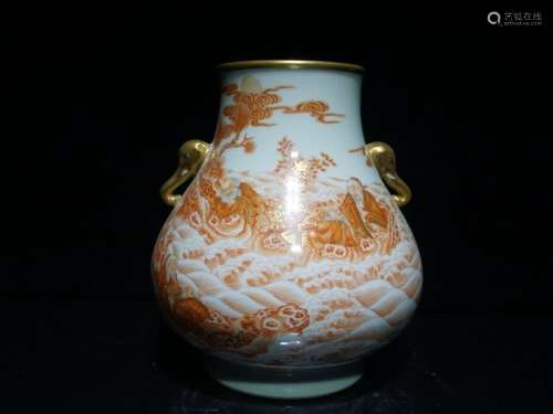 A Iron Red Gilt Decorated Porcelain Vase