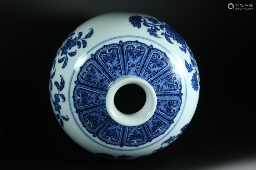 A BLUE AND WHITE MEIPING MARK OF QIANLONG