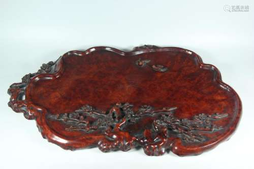 A CARVED YINGMU WASHER.ANTIQUE
