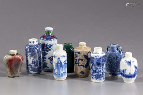 Nine Chinese porcelain snuff bottles