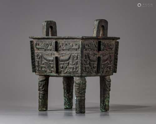 A Chinese bronze square shaped incense burner, fangding