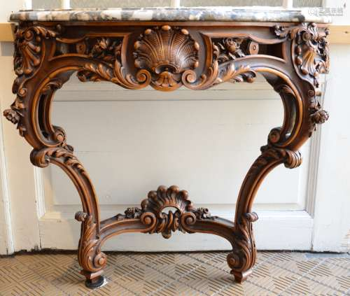 Louis XV style wall console in walnut with marble top