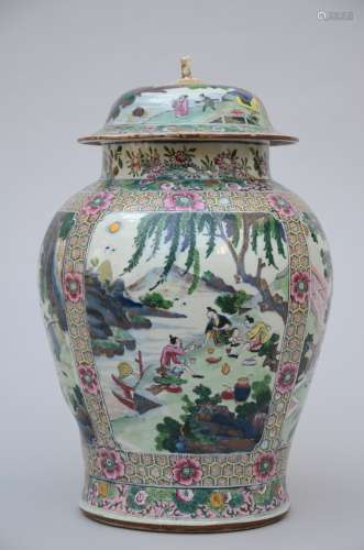 Large Chinese blue and white jar with later famille rose decoration, Kangxi period