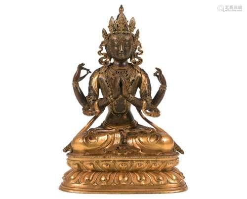 Statuette en bronze à double patine, brun clair et...;