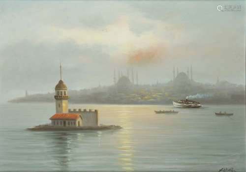 A painting depicting the Leander or Maiden Tower, …