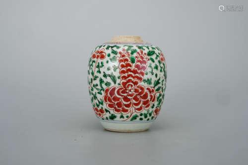 清 五彩花卉纹小罐