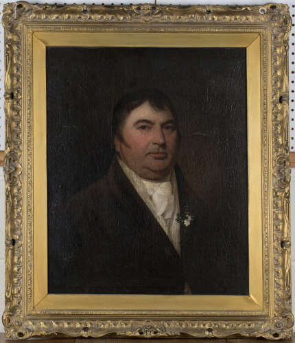 British School - Half Length Portrait of a Gentleman wearing a Boutonnière, early 19th century oil