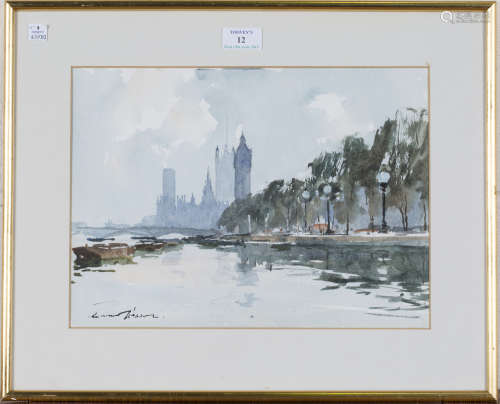 Edward Wesson - View along the Thames with the Palace of Westminster, 20th century watercolour,
