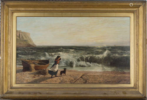 British School - 'Grace Darling, Portland' (Girl with a Dog on a Beach, beside the Eponymous