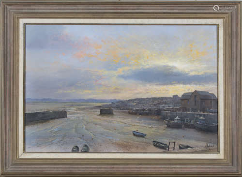 Clive Madgwick - 'Early Morning, Padstow', oil on canvas, signed recto, titled and dated 2002 verso,