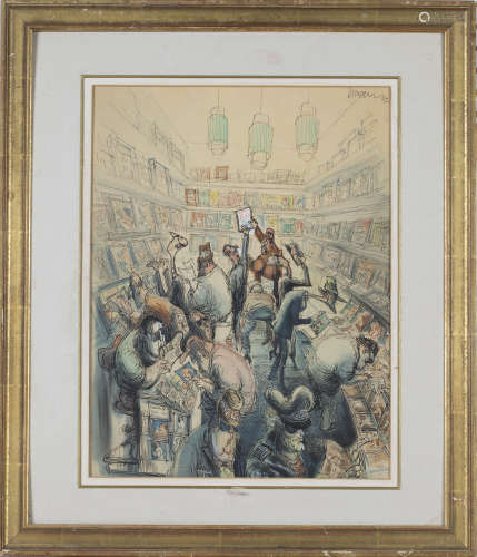 John Jensen - Men browsing Adult Magazines in a Shop, 20th century ink and watercolour, signed and
