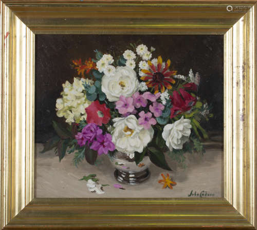 John Whitlock Codner - 'Summer Flowers', oil on board, signed recto, titled and dated 1986 verso,