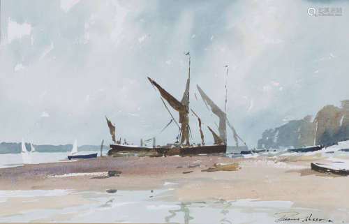 Edward Wesson - Coastal Landscape with a Beached Boat, 20th century watercolour, signed, 30.5cm x