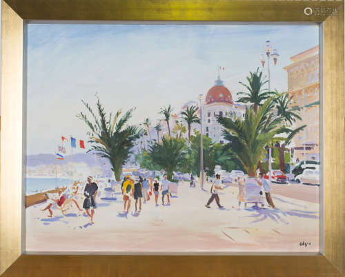 Norman Edgar - 'Evening Promenade, Nice', early 21st century oil on canvas, signed recto, titled
