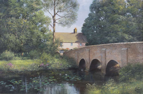 Clive Madgwick - 'River Bret, Chelsworth, Suffolk', oil on canvas, signed recto, titled label and