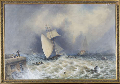 Alfred Montague - Sailing and Steam Vessels in Rough Seas off a Harbour with a Lighthouse,