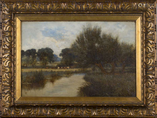 C.R. - River Landscape with Cattle, 19th century oil on canvas, signed with monogram, 29.5cm x 44.