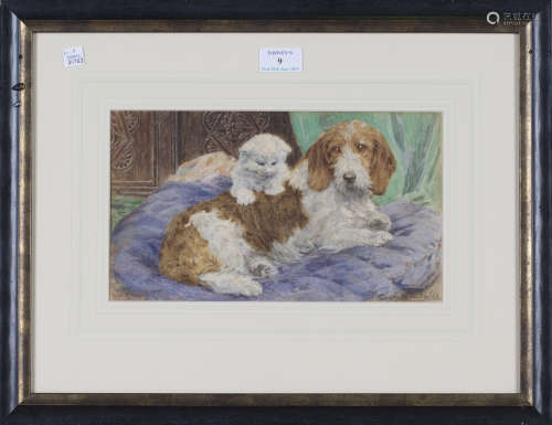 Eugenie M. Valter - Kitten and Spaniel on a Bed, late 19th/early 20th century watercolour, signed,