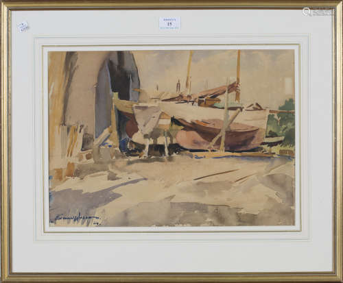 Edward Wesson - 'Up for Overhaul, Birdham, Sussex', 20th century watercolour, signed and dated '54