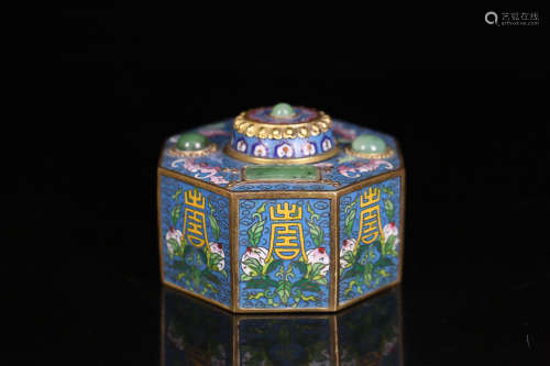 A CLOISONNE EIGHT SIDE LONGEVITY CAPPING BOX