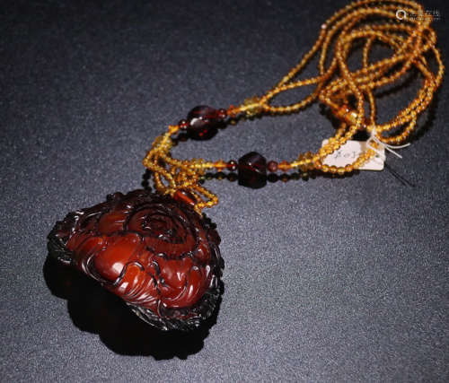 Blood RED Amber Pendant