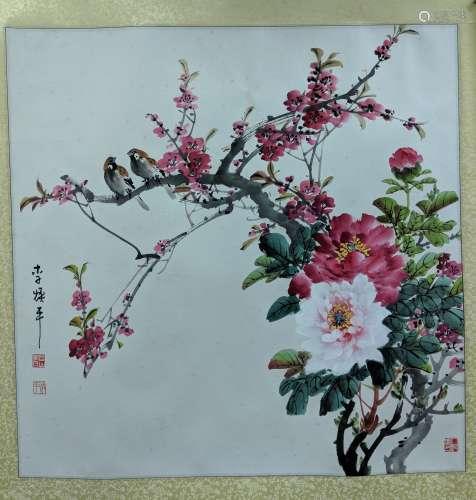 李煥平 花鳥 紙本 鏡片