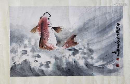陳子毅 魚躍 紙本 鏡片