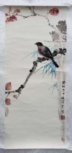 林清霓 花鳥(附藏印) 紙本 鏡片