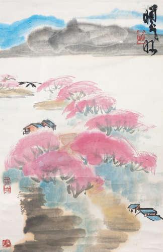 林㬢明 山居圖(原裝舊裱) 紙本 立軸