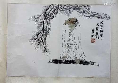 袁武 大音稀聲 紙本 鏡片