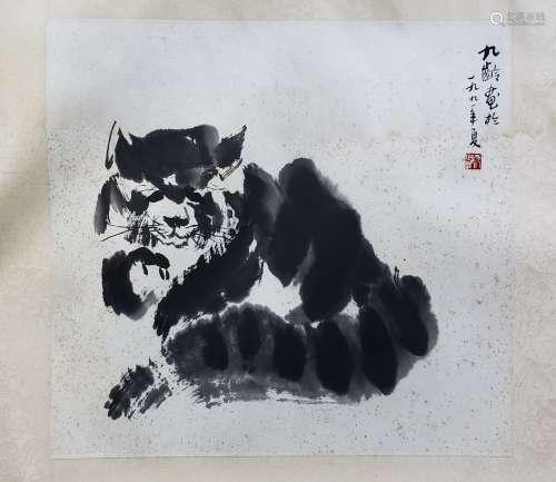 陳九齡 貓 紙本 鏡片