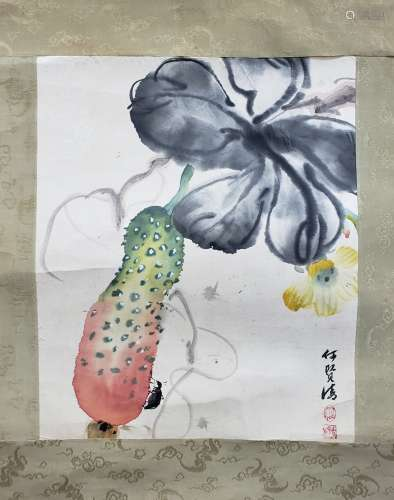 何賢清 花蟲 紙本 鏡片