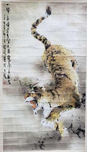 瑞祥 虎 紙本 鏡片