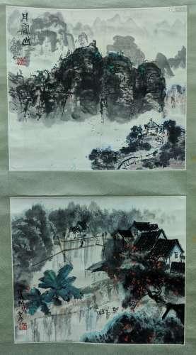 金明 丹霞山、水鄉 (雙挖) 紙本 立軸