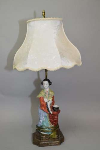 Qing Chinese Famille Rose Maiden Lamp