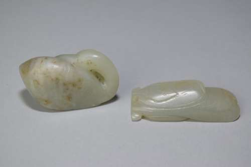 Two Chinese Jade Carved Amulets