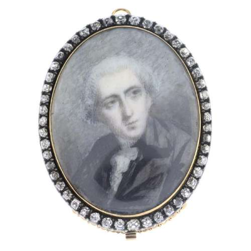 An early 19th century silver and gold, diamond portrait