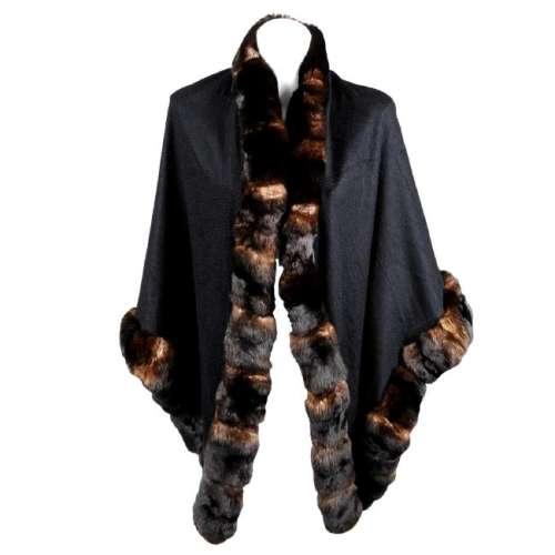 LORO PIANA - a chinchilla fur trimmed cashmere shawl.